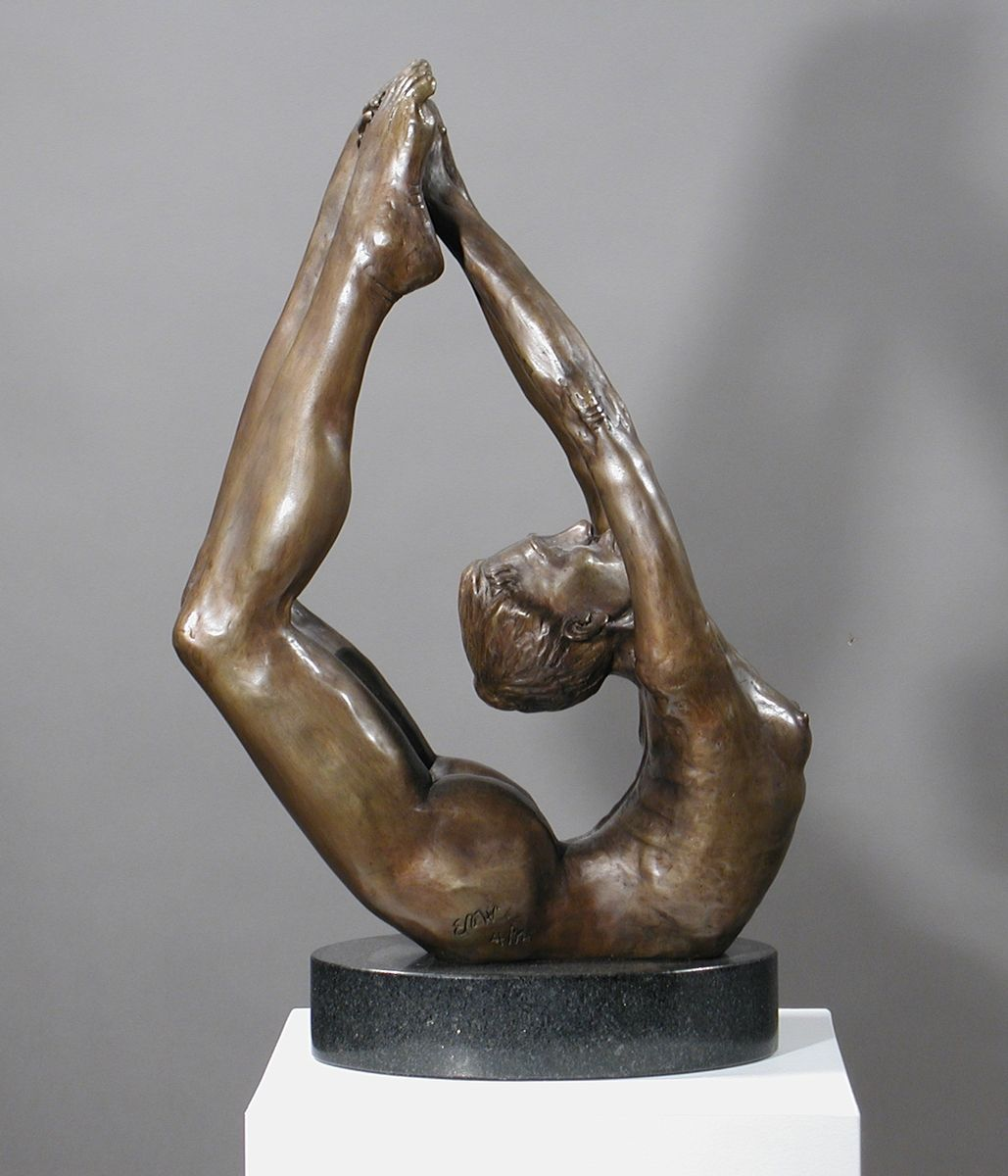 Hand Crafted Bronze Figurative Female Yoga Sculpture By