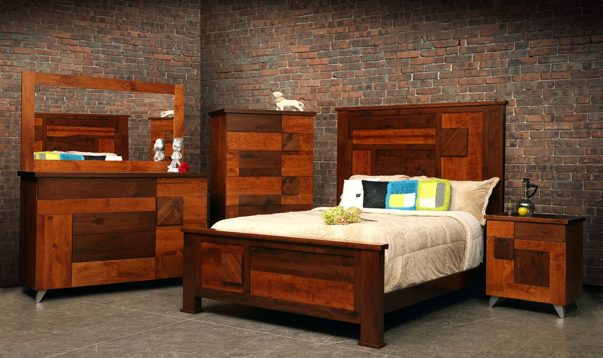 Hand crafted arial fields modern walnut cherry bedroom for Bedroom decor sets