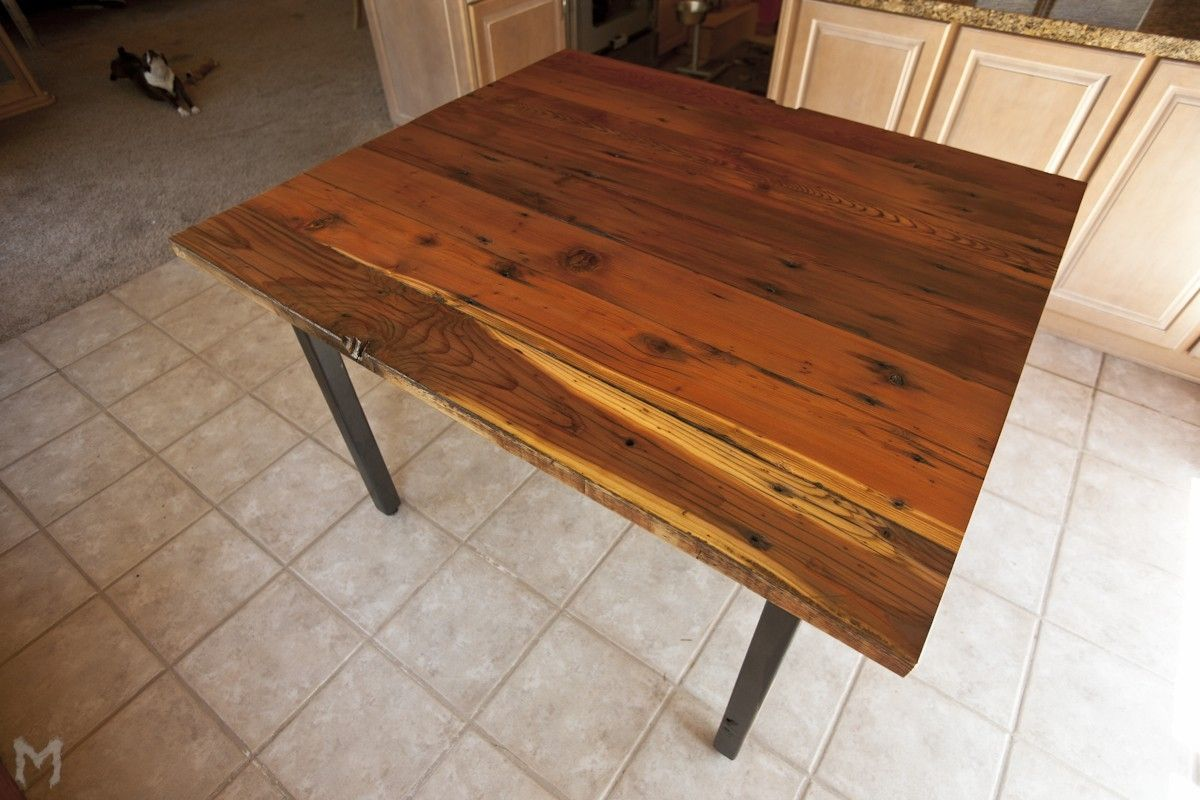 Custom Square Reclaimed Dining Table Redwood And Steel By