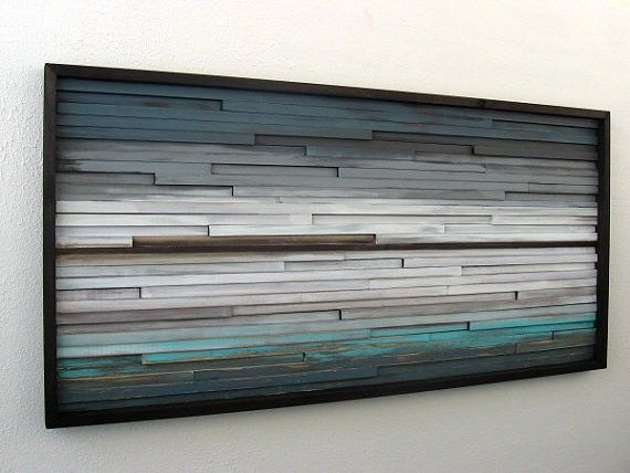 Hand Made Distressed Rustic Modern Wood Wall Sculpture By