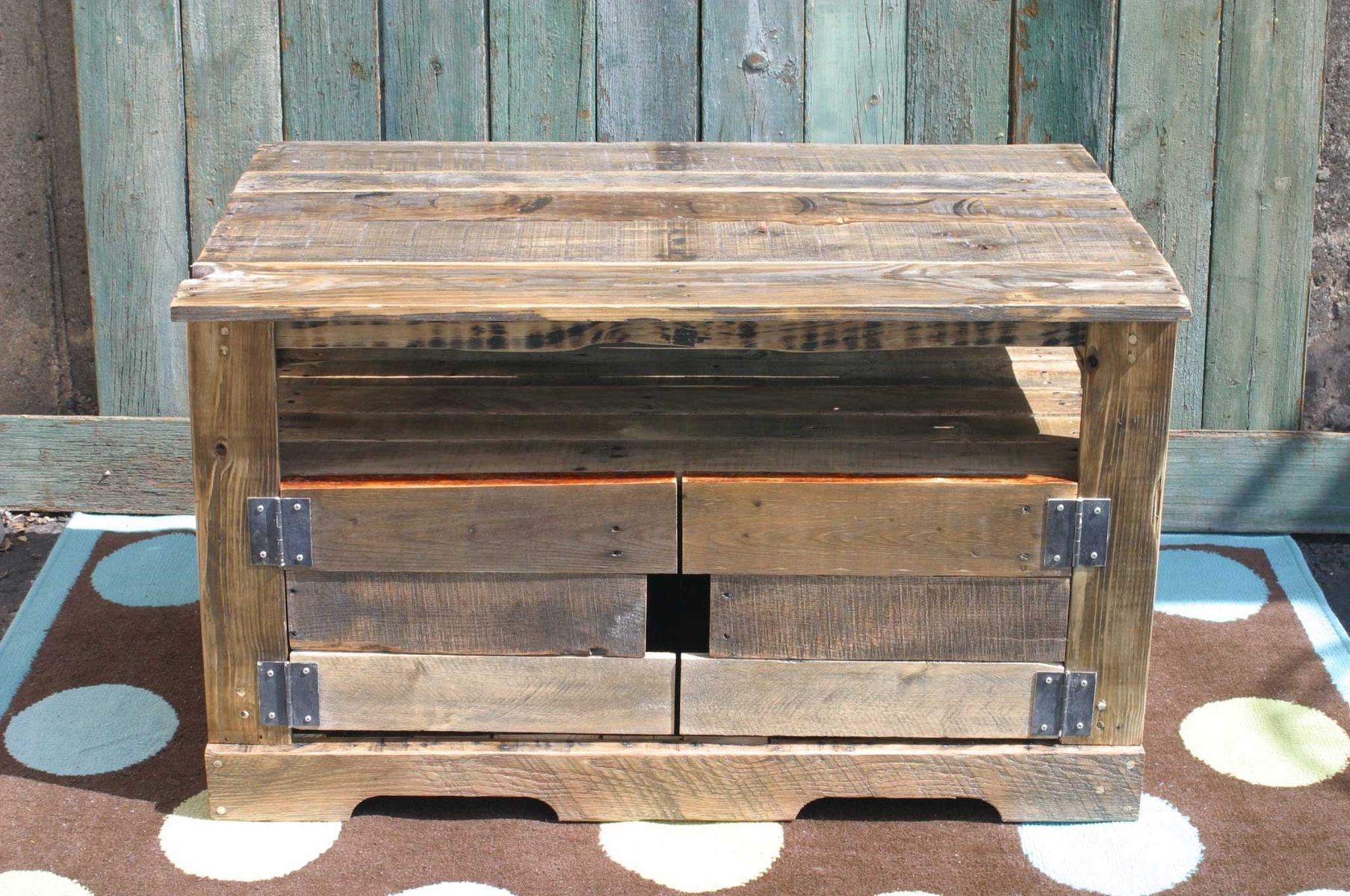 Custom pallet wood entertainment center by tim sway for What can you make with recycled pallets
