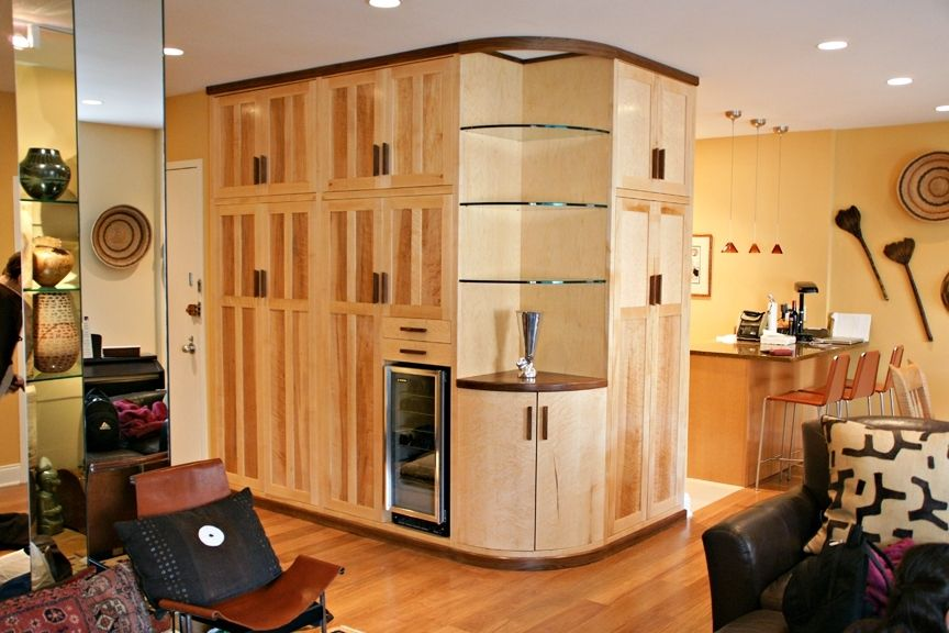 Handmade Built In Birds Eye Maple And Walnut Cabinetry By
