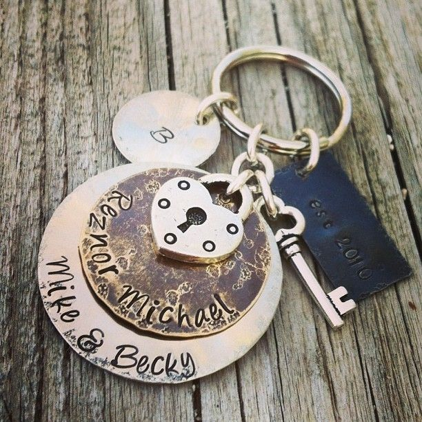 fashion keychains personalized hand stamped keychain wedding gift ...