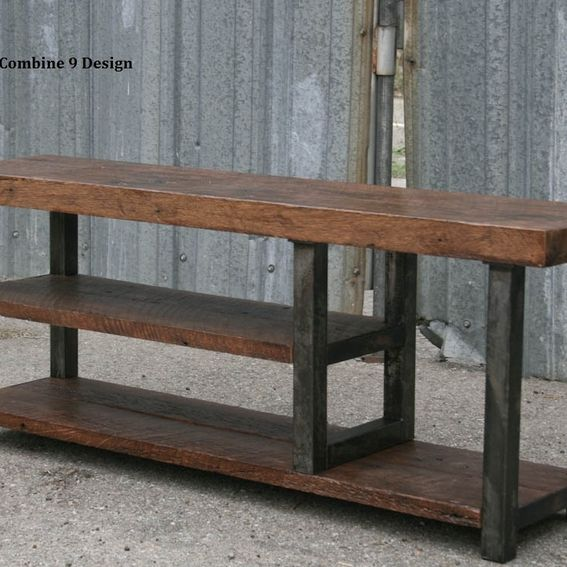 Hand Made Bench With Storage Solid Reclaimed Wood Industrial Urban Rustic By Combine 9