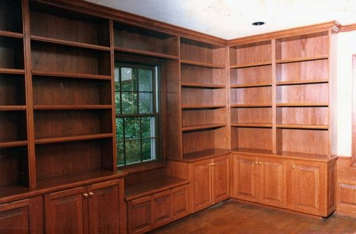Custom Made Cherry Bookshelves And Base Cabinets