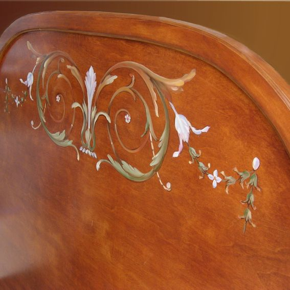 King Mother Of Pearl Headboard By The Yard: Handmade Faux Inlay Wood / Mother Of Pearl Headboard- 2