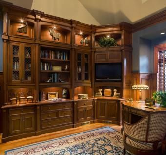 Custom mahogany library by noble woodworks for Custom home library design