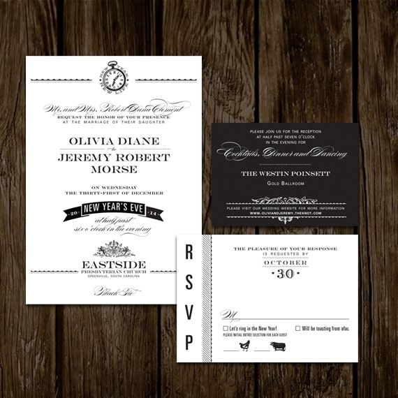 Hand Made New Years Eve Wedding Invitations By Lano Design