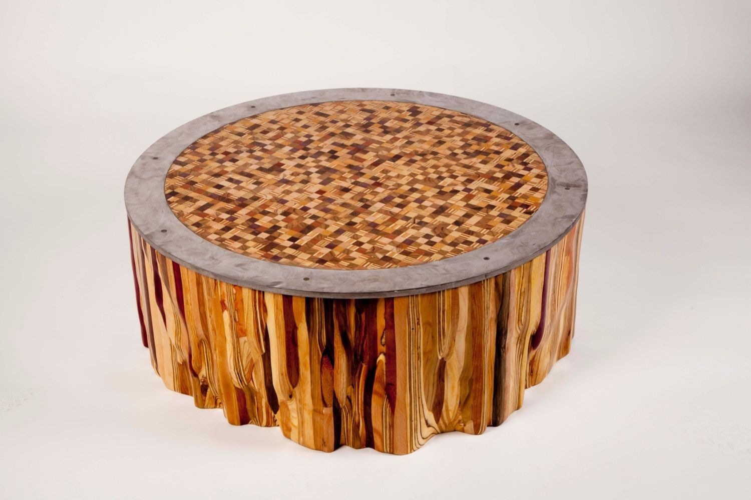 Hand Made Mixed Wood Mosaic End Grain Top Coffee Table By