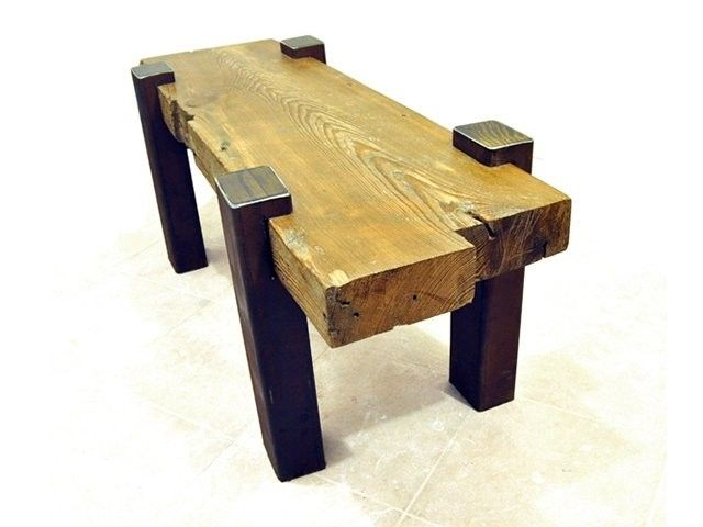 Hand made reclaimed beam coffee table by drew lambert for Reclaimed beam coffee table