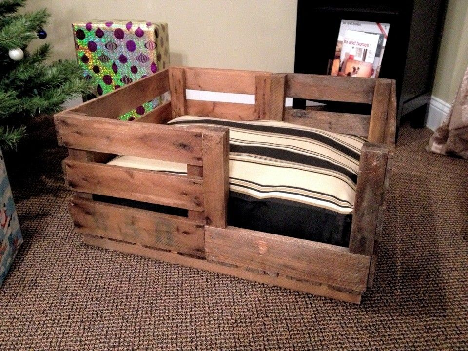Hand Crafted Retired Produce Crate Dog Bed By Natural Wood