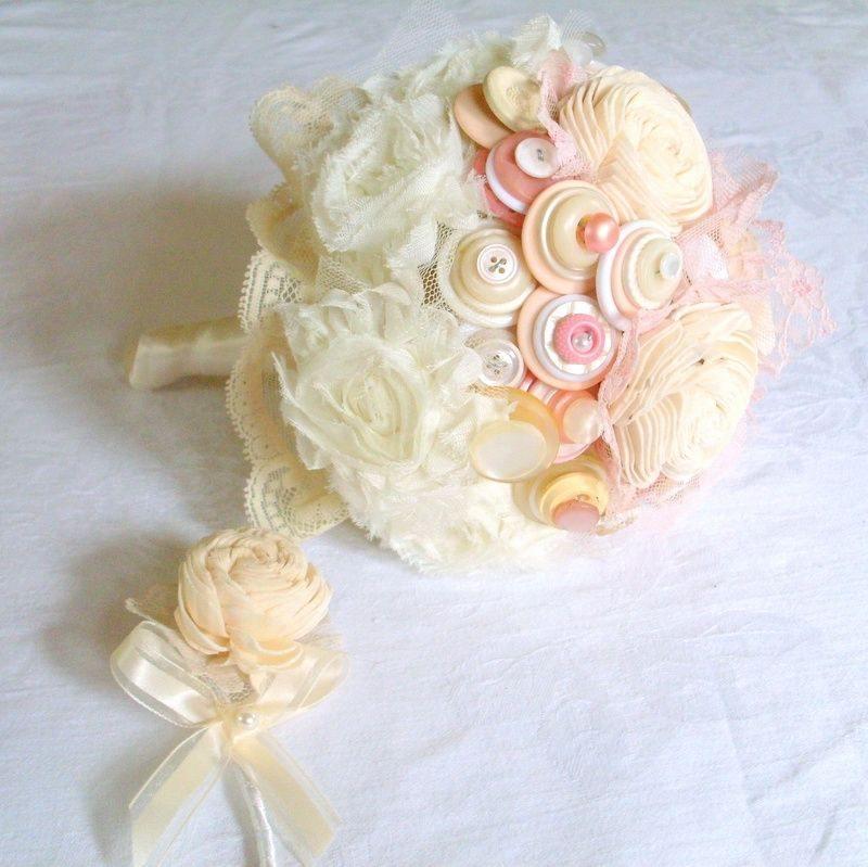wedding commitment flower bouquets cream and white buttons bridal