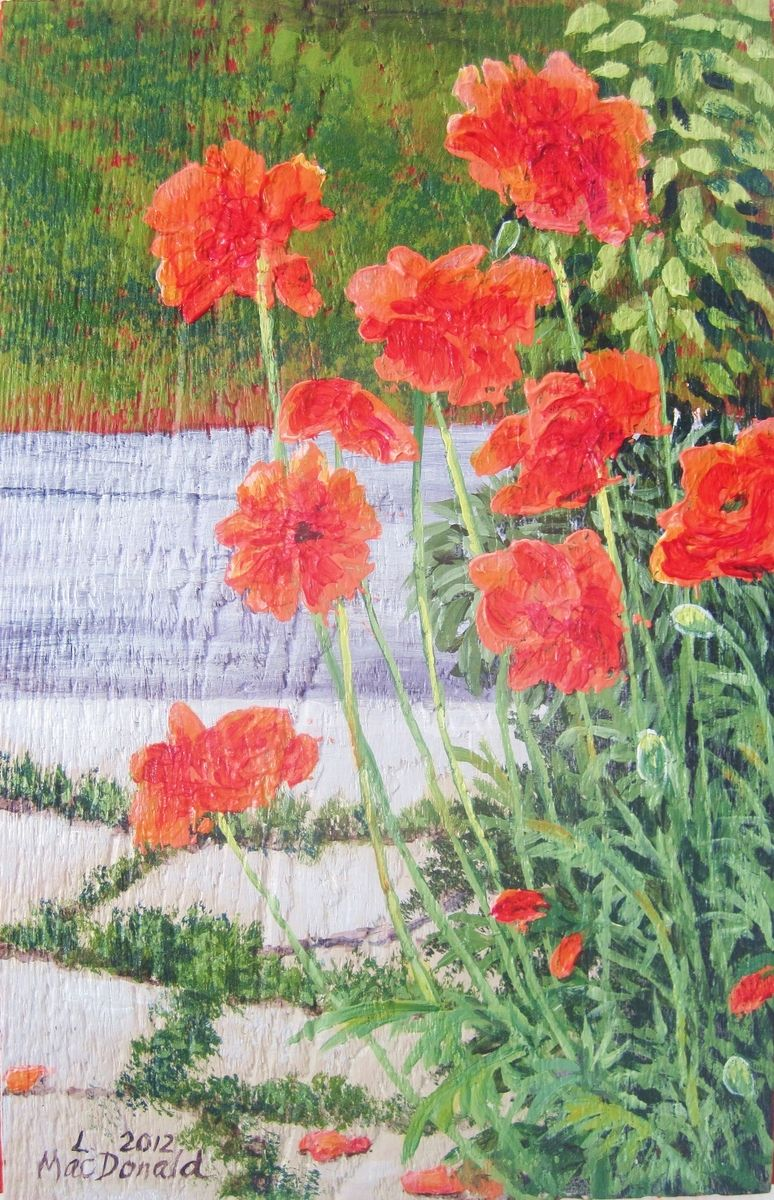 Hand Made Poppies On Old Wood Plank Board Acrylic Painting