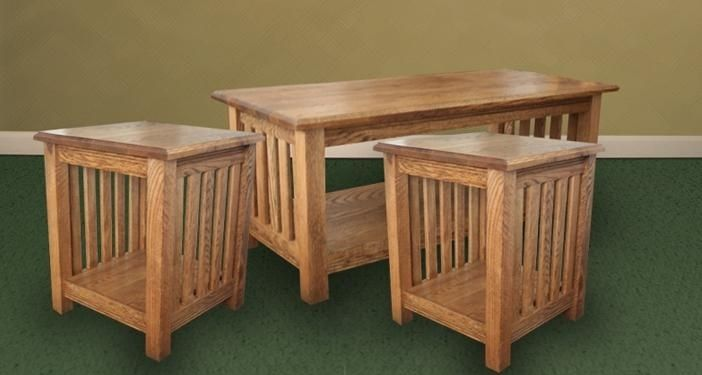 Hand Made Solid Oak Mission Style Coffee Table Combo By Village Furniture Maker