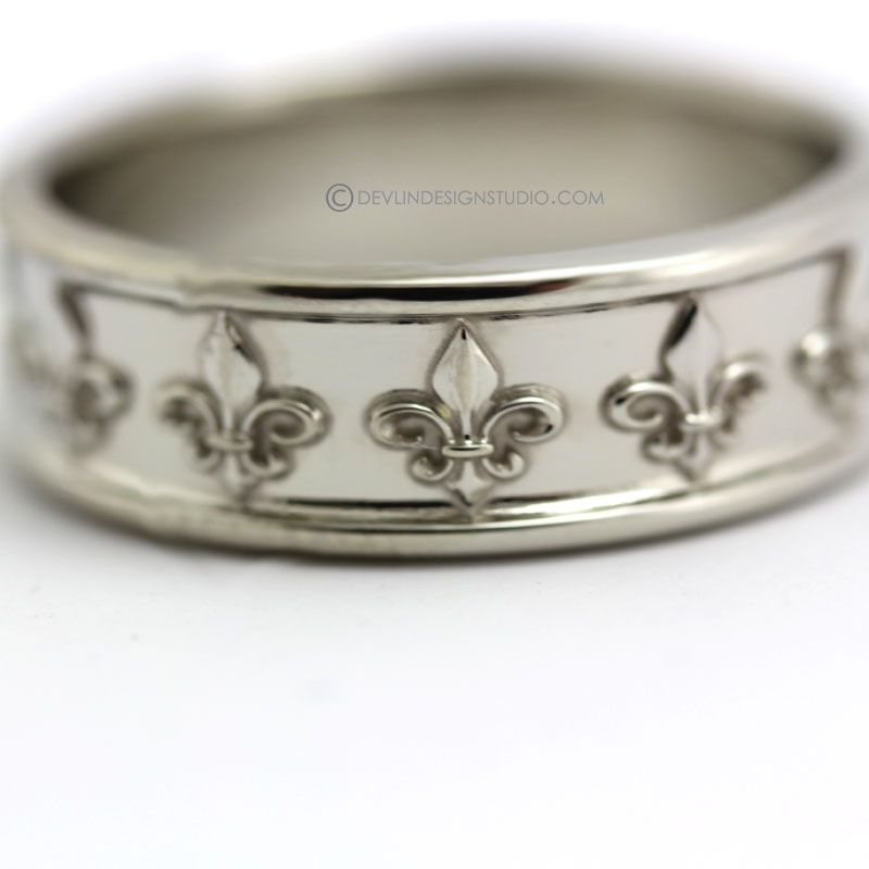 Hand Made White Gold Band With Fleur De Lis Design By