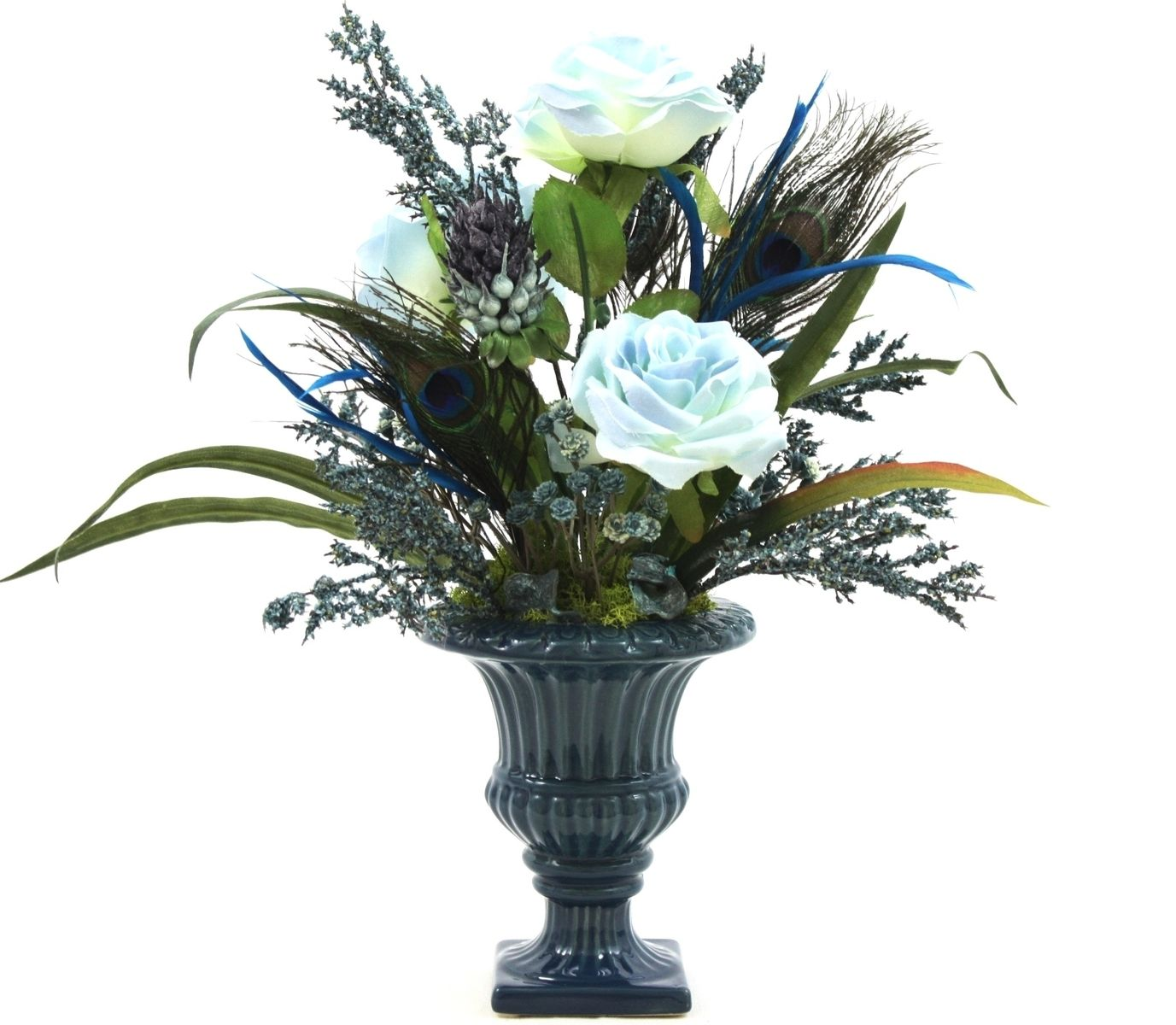 Handmade silk flower arrangement home office decor for Centerpieces for wood dining table
