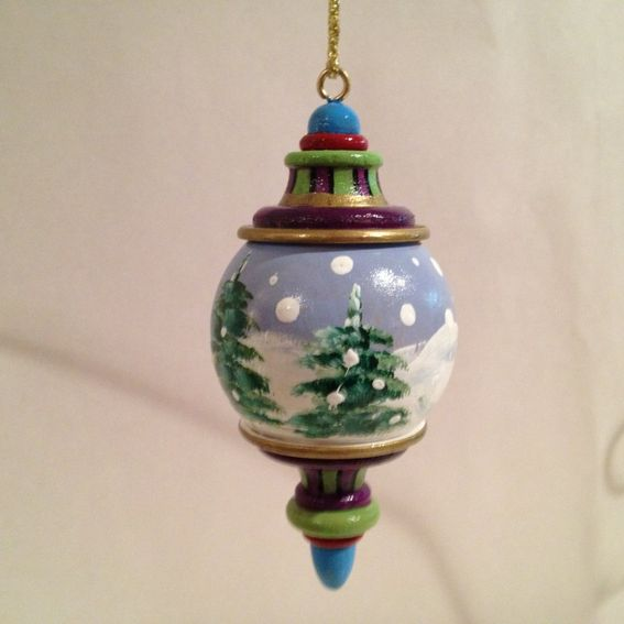 Hand made painted solid wood christmas finial