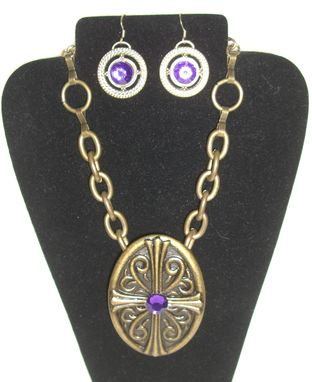 Custom Made Oval Bronze Belt Buckle Necklace And Earrings