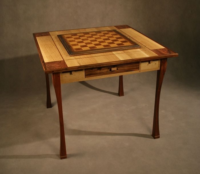 Custom Made Game / Chess Table - Oak And Rosewood by Art ...