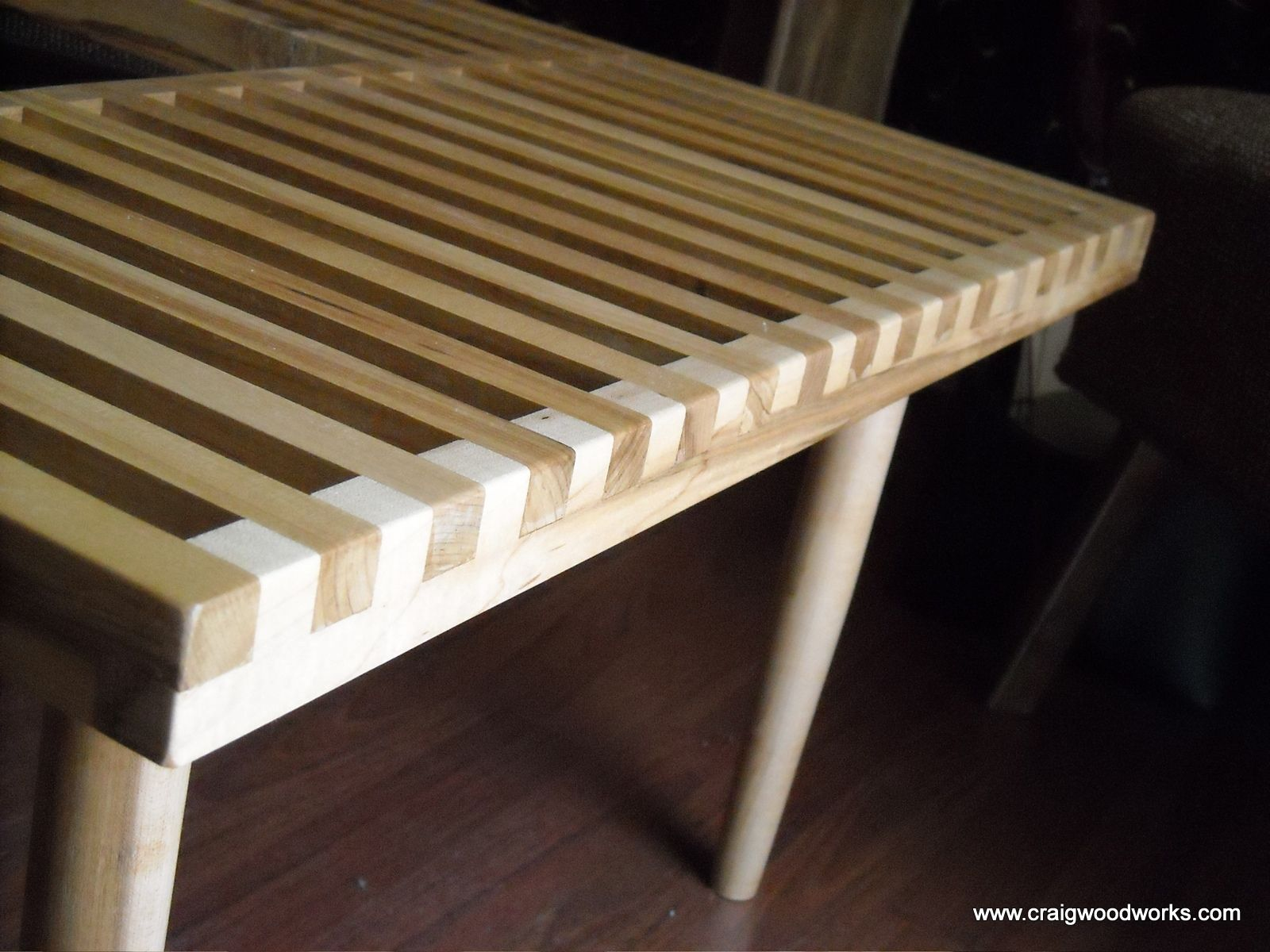 Hand Crafted Of Slat Benches And Slat Tables By