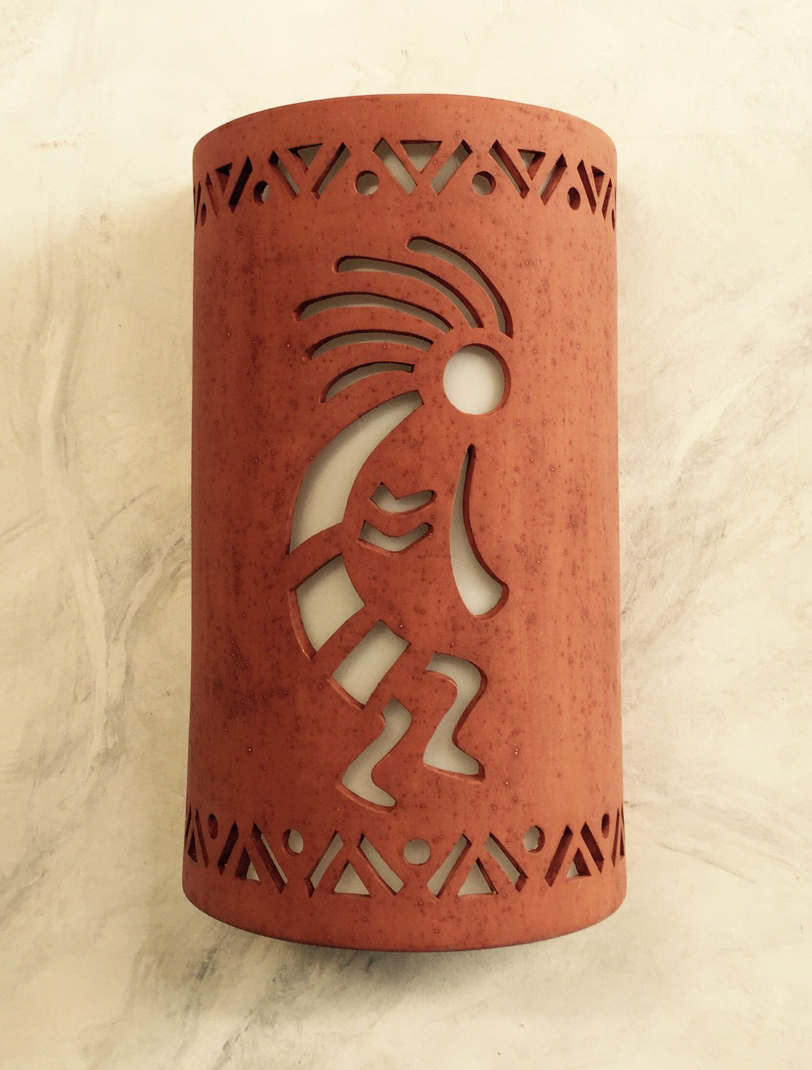 Kokopelli Wall Sconces : Buy a Custom Made Kokopelli Dancer Detail Cutout Ceramic Wall Sconce, made to order from Cust ...