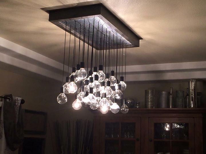 Hand Crafted Wood And Metal Hanging Bulb Chandelier Light