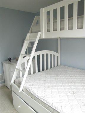 Hand Made Queen And Xl Twin Bunk Bed With Full Trundle By