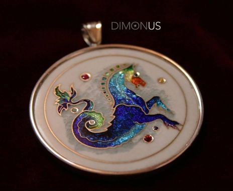 "Custom Made ""Hippocampus"" Silver Cloisonné Pendant. Mythical Creatures Series"