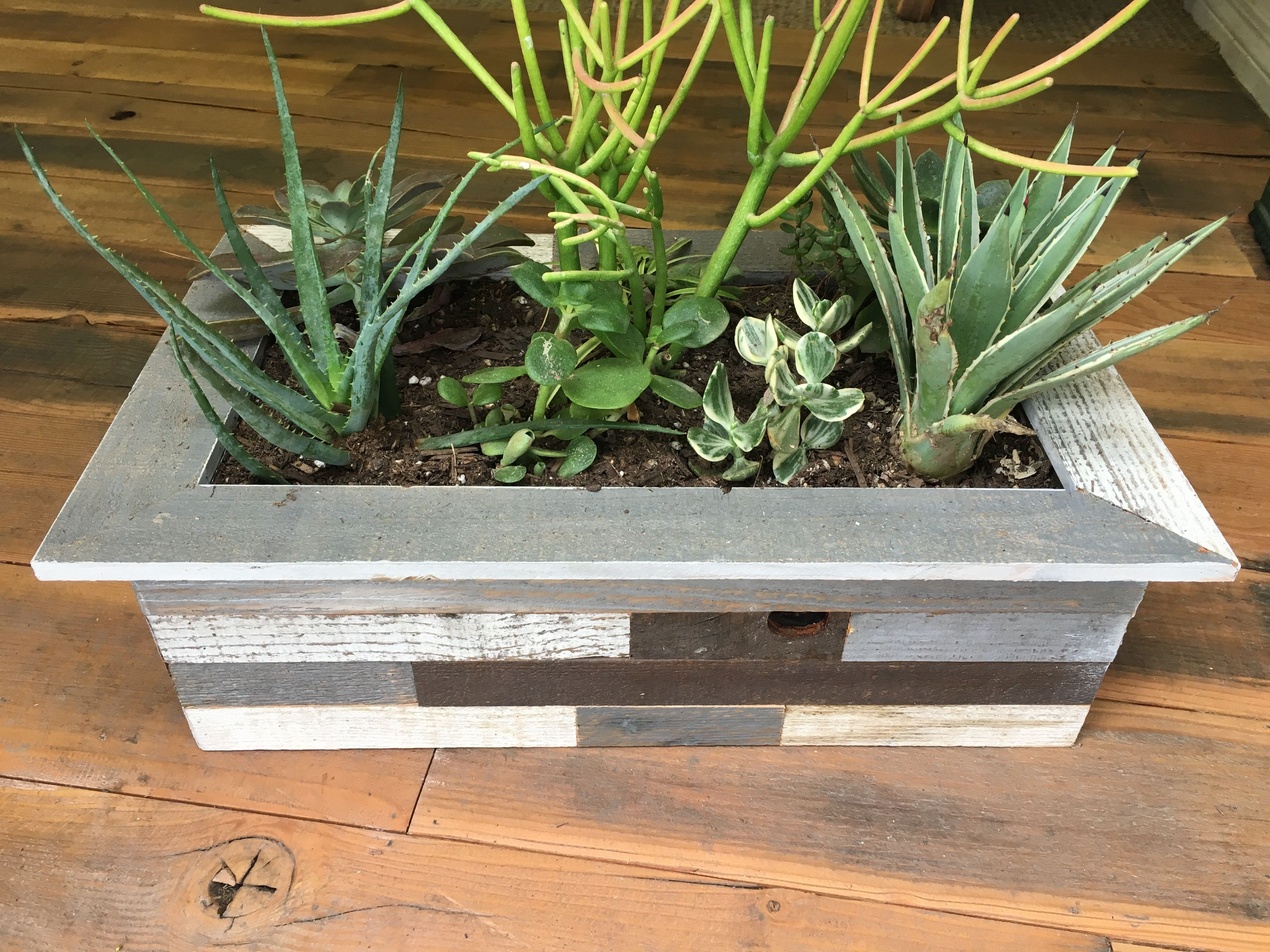 Buy A Custom Large Reclaimed Wood Planter Succulent Herb Box Made