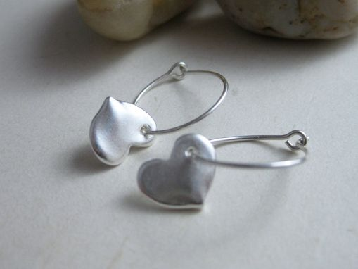 Custom Made Tiny Silver Heart Hoop Earrings