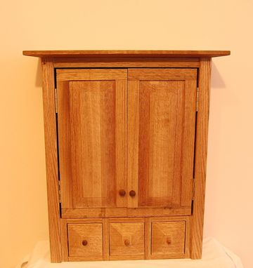 Custom Made Country Oak Three Drawer Spice/Medicine Cabinet
