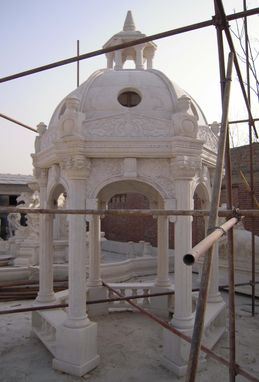 Custom Made Stone Garden Gazebo With Solid Marble Dome