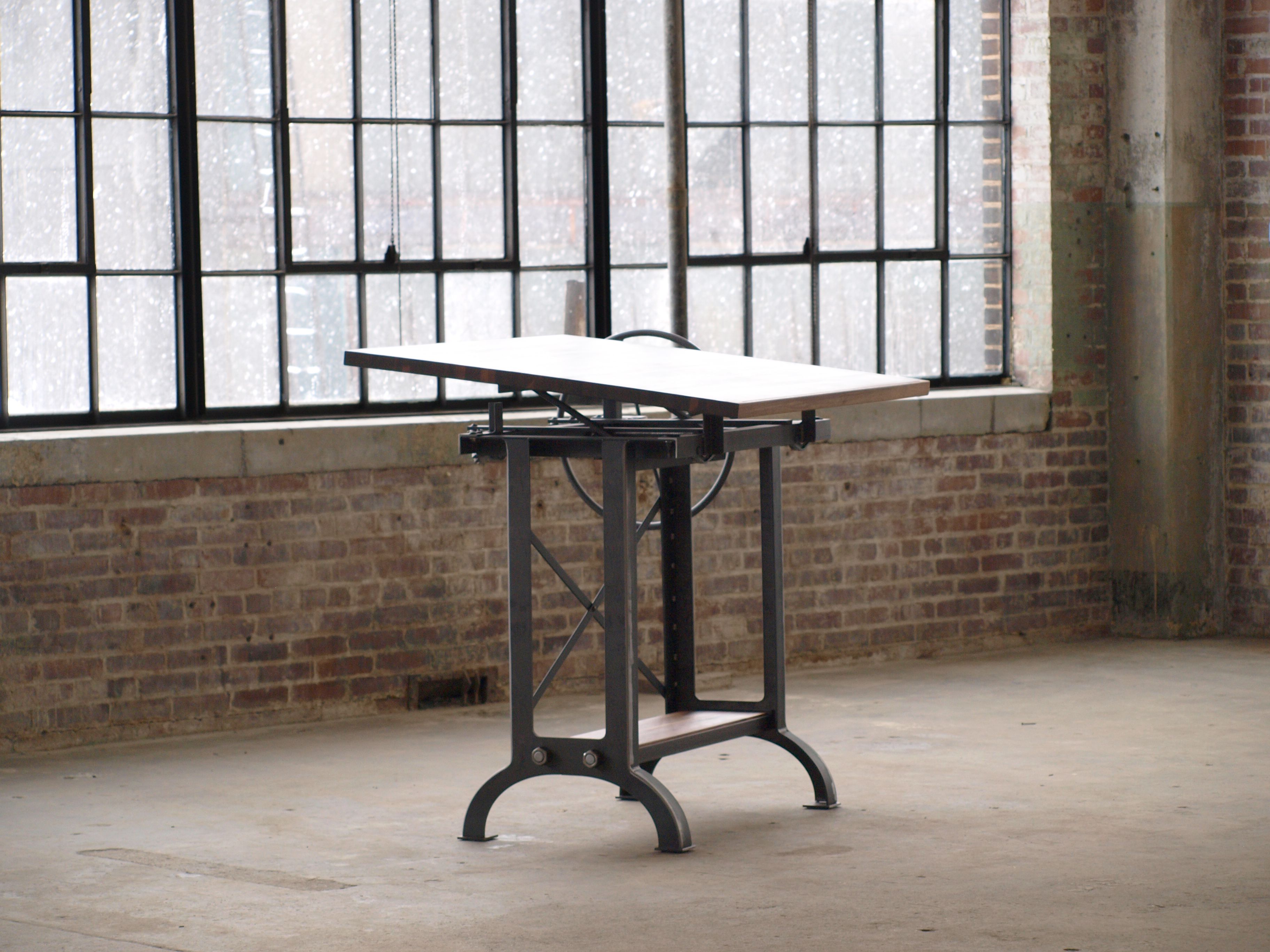 Hand Made Large Walnut Industrial Drafting Table Desk By