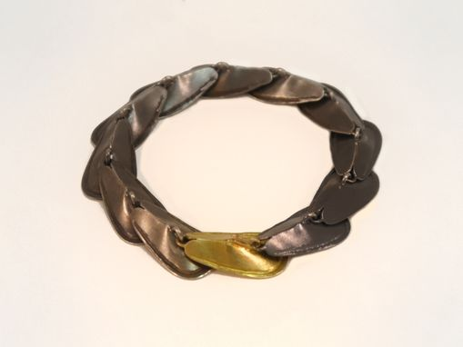 Custom Made Petal Silver And Gold Bracelet