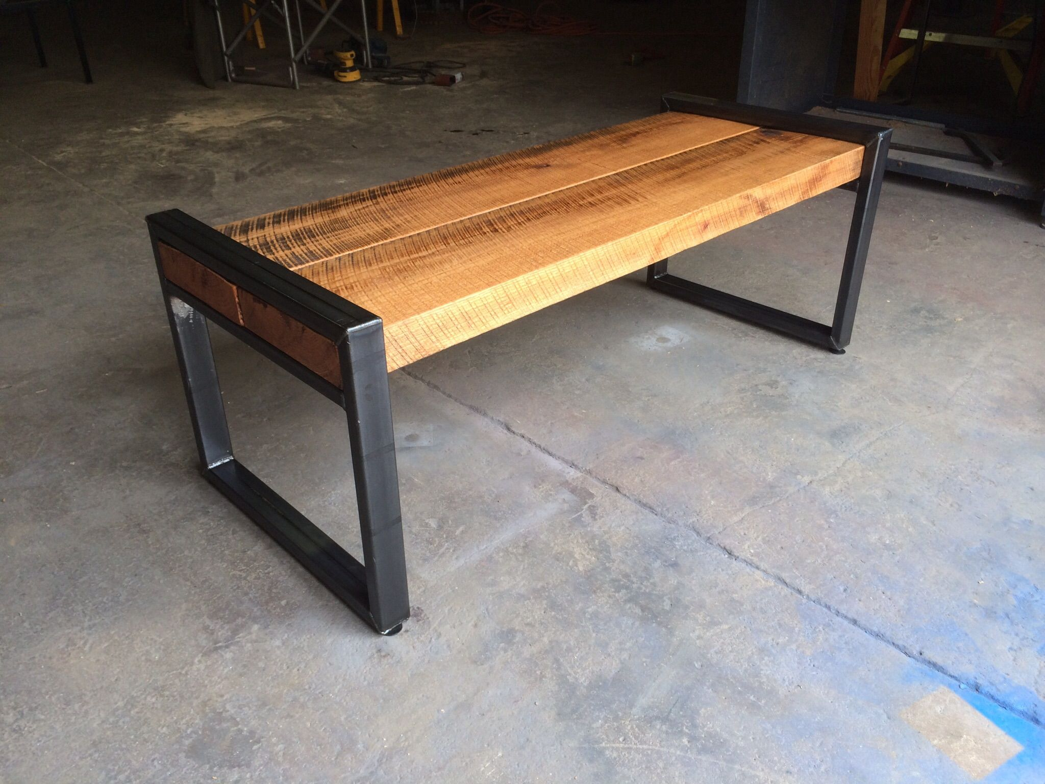 Custom reclaimed oak beam bench by virginia build works Oak bench