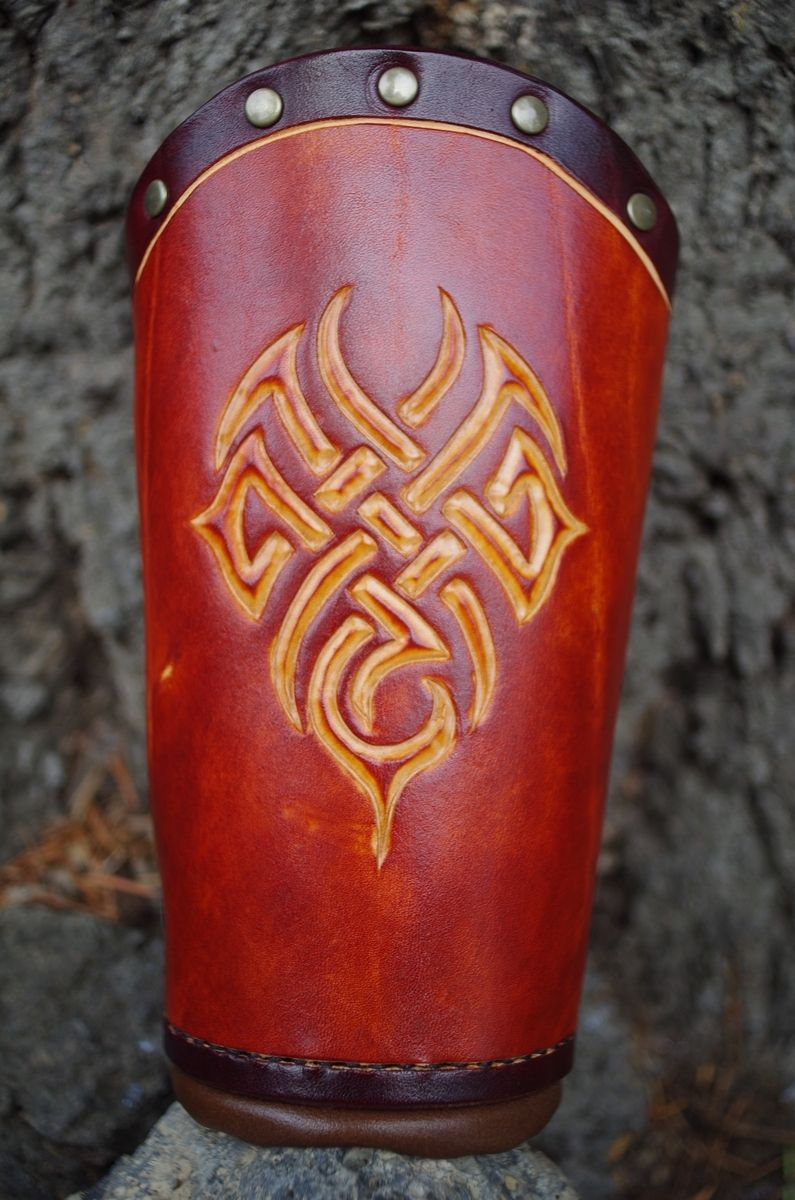 Hand Crafted Tribal Bracers Leather Armor By Leatherstorm