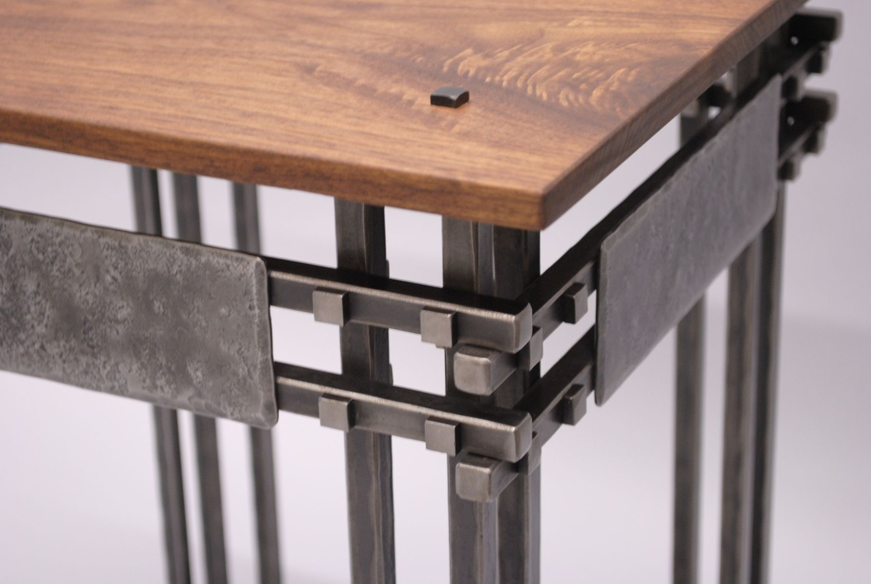 Hand Crafted Hand Forged Steel And Walnut Side Table By