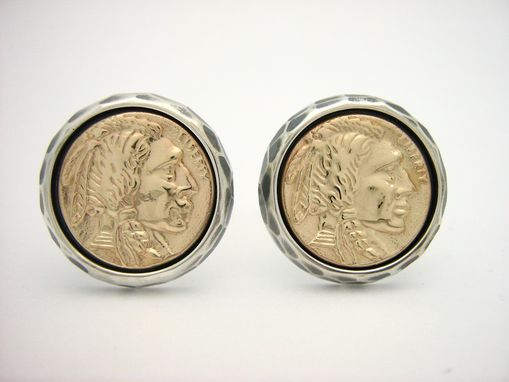 Custom Made Sterling Silver And Gold Native American Coin Cufflinks