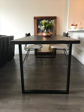 Custom Made Reclaimed Wood Dining Table With Steel Legs