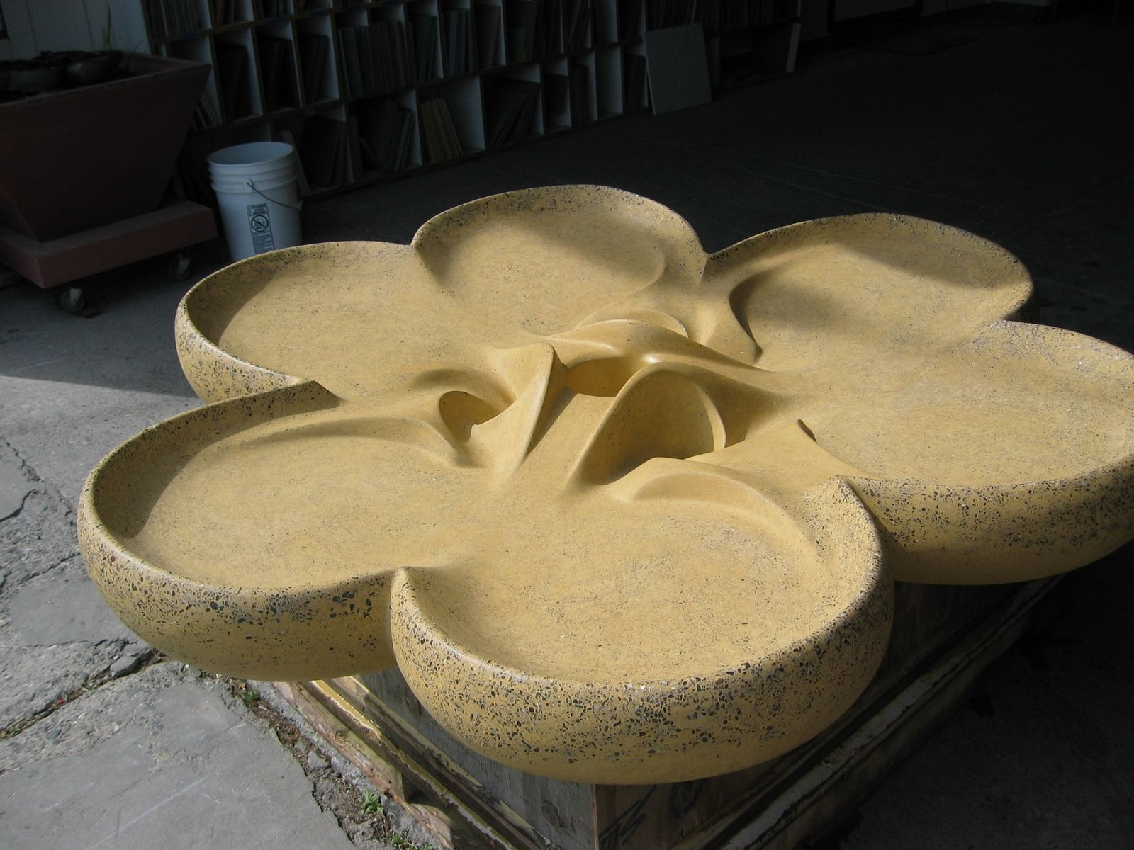 Handmade Fountain - Outdoor Shamrock Flowform by Bohemian Stoneworks ...