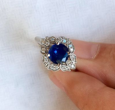 Custom Made Vintage Petals Sapphire Engagement Ring In 14k