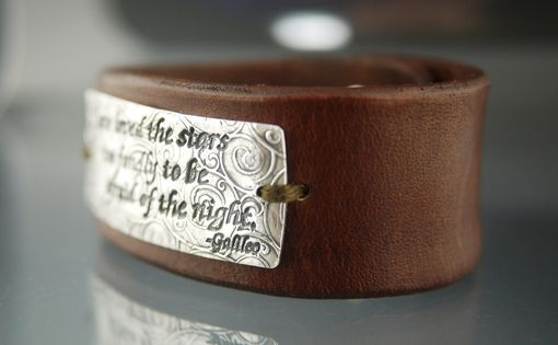Custom Made Fine Sterling Silver & Leather Cuff