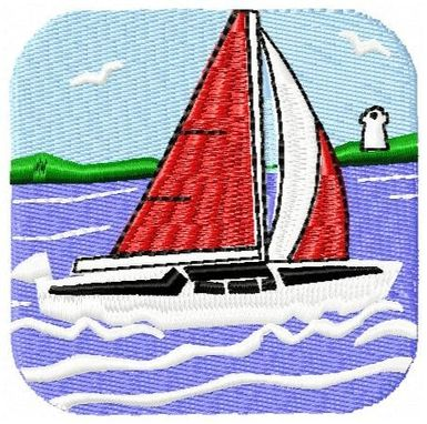 Custom Made Sailboat Embroidery Design