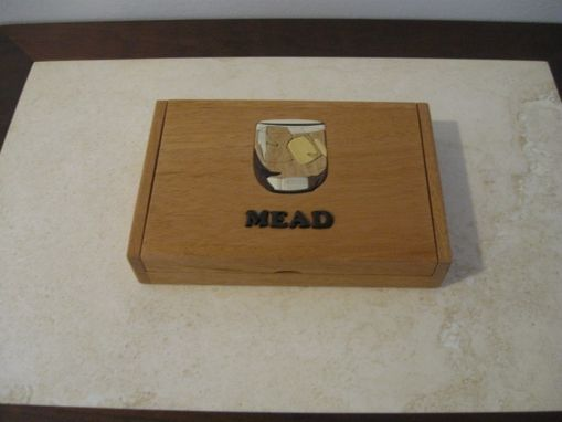 Custom Made Cigar Box With Inlaid Intarsia Top