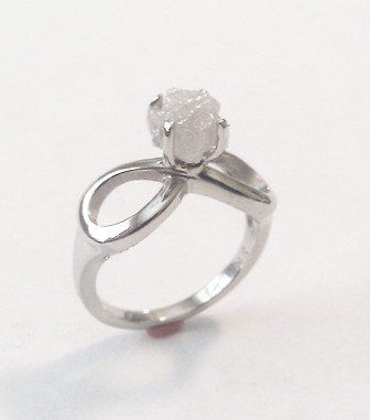 Custom Made Rough Diamond Engagement Ring