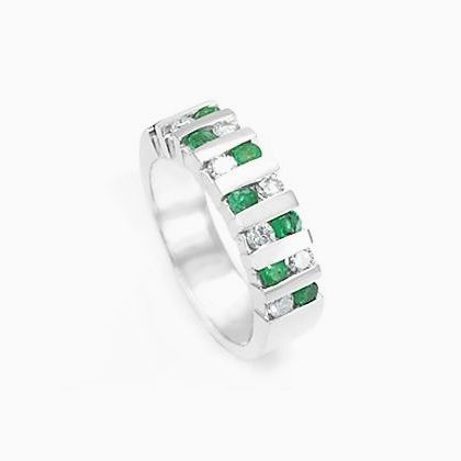 custom made emerald diamond wedding band in 14k white gold emerald band wedding ring