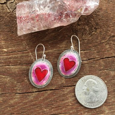 Custom Made Cloisonne Enamel Heart Earrings, Red And Pink Heart Earrings