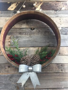 Custom Made Holiday - Vairaa - Wine Barrel Wreath Or Door Hanger