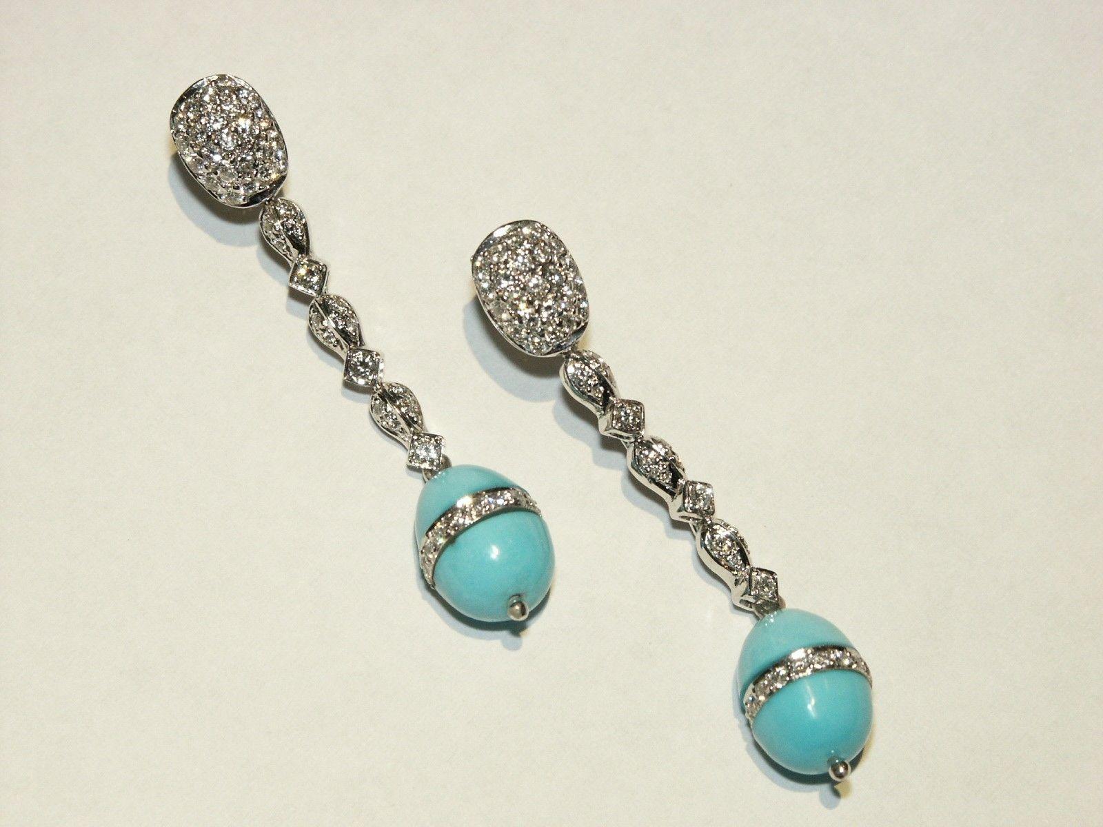 Custom Made Diamond And Custom Cut Turquoise Earrings