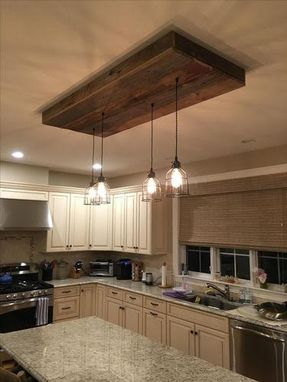 Custom Made Reclaimed Barn Siding Light Fixture With Caged Edison Bulbs